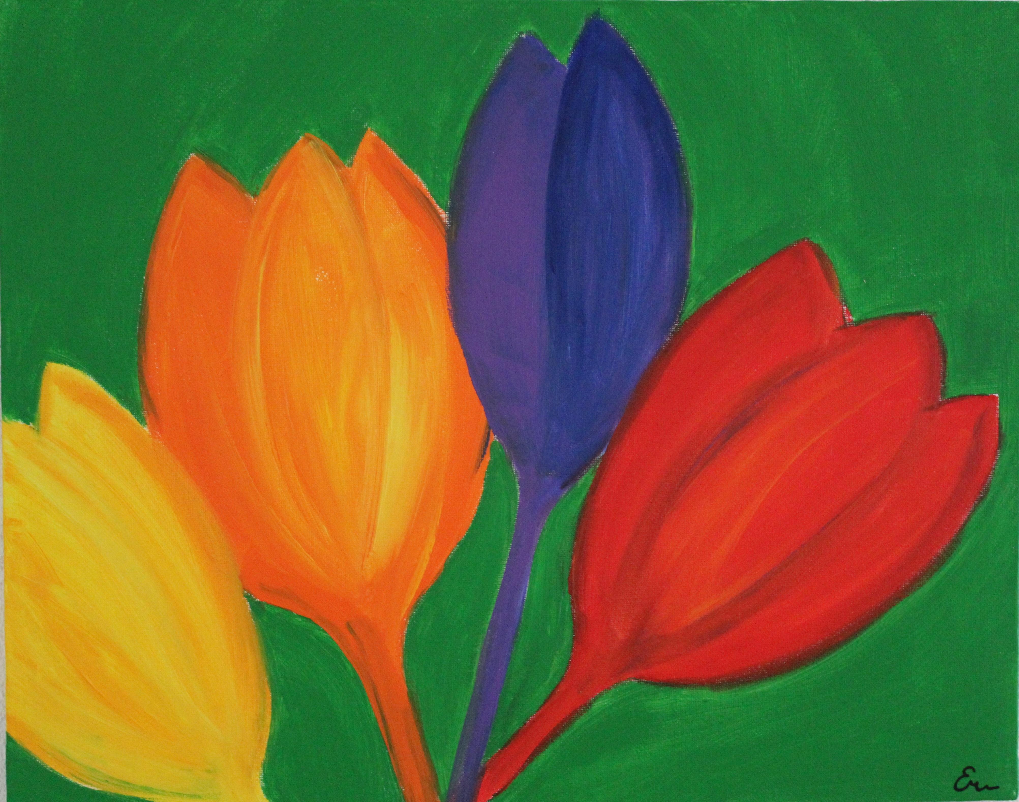 tulpen fel gekleurd acryl op canvas